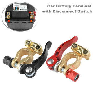 2PCS Copper Auto Car Truck Universal Battery Terminal Head w/ Disconnect Switch