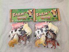 12 x FARM ANIMALS 2 OF EACH ANIMAL PLASTIC CHUNKY FIGURES APPROX 8cm L 5cm H