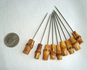 Set of 9 French Cocktail Picks w/ Bamboo Knobs