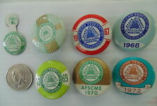 Lot of 7 AFSCME union buttons 1961 1966 1967 1968 1969 1970 1972