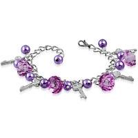 Purple Pink Pearl Glass Bead Dangly Key Charm Bracelet nickel free jewellery UK