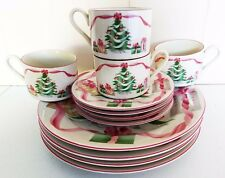 Sango Christmas Dinnerware Set Plate Mug Saucer 12 PC Pink Christmas Tree #4829