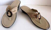 Italian Shoemakers Womens Sandal Beige 7.5 Slip On Split Toe Wedge Heel Cloth