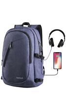 Cafele Laptop Backpack Anti Theft Water Resistant Bookbag w/ USB Port Blue 15.6""