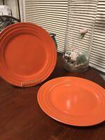 "Set LoT 2 Rachel Ray Double Ridge Stoneware Dinner Plates Orange 11"" BRAND NEW=D"