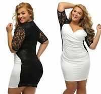 Ladies Sexy Black White Ruched Lace Illusion Plus Size Midi Dress 14 16 18 20