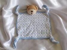 Doudou ours bleu et blanc, yeux dormeurs, broderie poisson, Kaloo