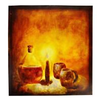 Vintage 1993 Artist Signed Serxho Petrela Still Life Oil on Canvas Painting
