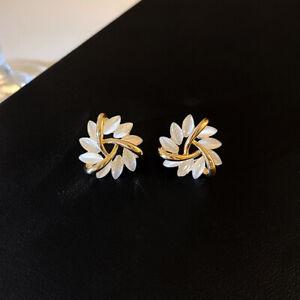 Fashion 925 Silver Opal SunFlower Spin Gold Earring Ear Stud Women Jewelry Gifts