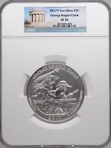 2017 P 5oz Silver 25C George Rogers Clark NGC SP 70 perfect key date must see!