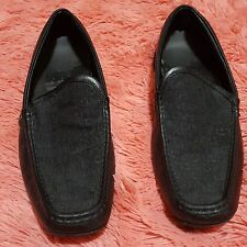 Guess Sz 13 Shoes Mens Black Leather MGDONNEL Slip On Guess Logo Comfort Nice