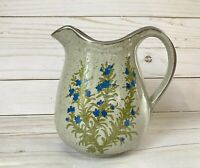 Stoneware Blue Flowers & Green Leaves Otagiri Pitcher Speckled Brown Japanese