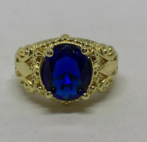 Yellow Gold Filled Copper 10k Filled Flower Oval Blue Sapphire Ring Size 9