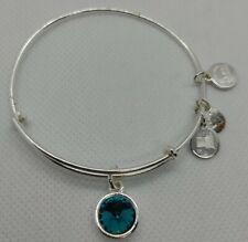 Alex and Ani + Energy December Blue Zircon Bangle Bracelet Silver