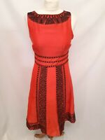Monsoon - Midi Dress - Size 8 - Pink / Black - Linen / Silk Mix