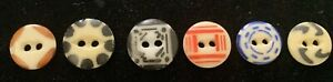 6 China Stencil Buttons, #1, 4, 8, 11, 18, 24