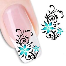 Nail Art Sticker Water Decals Transfer Stickers Blue Flowers (XF1144)