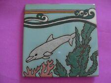 "Dolphin Porpoise 6"" Tile Shabby Cottage Beach Chic Nautical Decor Retro Italy"