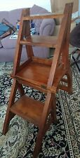 Vintage solid wood folding step ladder chair