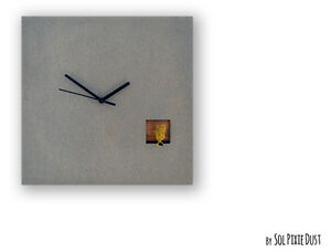 Cuckoo Clock Silver Bird. Concrete and Wood - Square Wall Clock