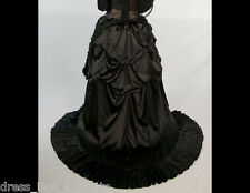 Gothic Bride Steampunk 3 Layers Satin 1869 Bustle Skirt L-4X Blk