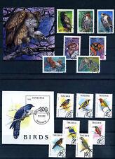 collezione TANZANIA 2 SERIE -+ 2 FOGLIETTI  A TEMA UCCELLI  FRANCOBOLLI Stamps