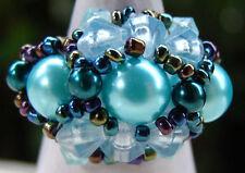 Bague fantaisie bleue en perles de rocaille et perles de culture bijou Bali
