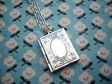 FUNKY SILVER BOOK LOCKET CHARM NECKLACE CUTE KITSCH RETRO LOVE VALENTINE GIFT