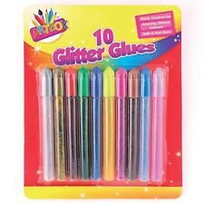Glitter Glue Pens Pack Of 10 Assorted Colours Art Children Craft Making