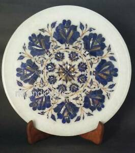 12 Inches Marble Corporate Gift Plate Inlay Collectible Plate Laps Lazuli Stone