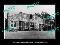 OLD POSTCARD SIZE PHOTO OF GASCOZARK MISSOURI THE DX OIL SERVICE STATION c1950