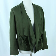 New Coldwater Creek Draped Collar Jacket Womens Sz Petite Small 6 8 Forest Green