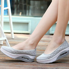 US 7-Womens Breathable Platform Walking Athletic Trainers Slip-On Shoes Sneakers