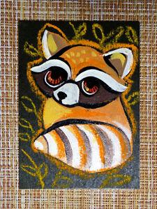 ACEO original pastel painting outsider folk art brut #010520 surreal raccoon
