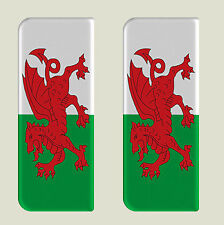 2x Wales Full Welsh Dragon Flag - Gel Domed Number Plate Badges/Decals 107x42mm