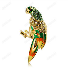 Fashion Lovely Parrot Austrian Crystal Breastpin Gold Plated Women Brooches Pin