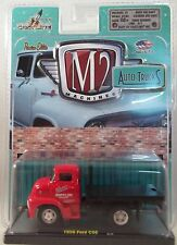M2MACHINES 1:64 SCALE DIECAST METAL RED 1956 FORD COE FLAT BED TRUCK