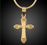 18k Goldkette vergoldet Kreuz Kette Anhänger Jesus Christ Herren Damen Edelstahl