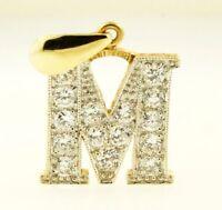 9Carat Yellow Gold Simulated Diamond Initial 'M' Pendant (19x19mm)