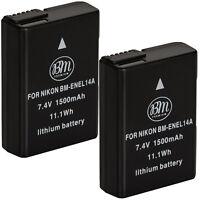 BM Premium 2X EN-EL14a Batteries for Nikon D3100, D3200, D3300, D3400, D3500, DF