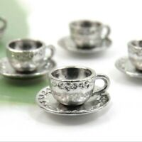 20 Fancy TEA CUP Charms in 3-D, Antique Silver Charm Set Lot 14X8mm US Seller