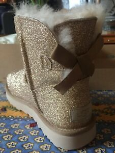 Ugg Womens Mini Bailey Bow Sparkle Ankle Boots Fur Australia Gold Size 7