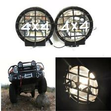 "2pcs 6"" Round Black Housing Clear Fog Light+4X4 Guard Work Lamps Pair Off Road"