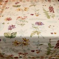 * Linens Tablecloth WILLIAMS & SONOMA Floral Iris Hollyhock  50x50 USA SELLER