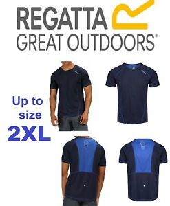 Mens REGATTA  RMT164 gym running breathable Team top T shirt Navy blue Up to 2XL