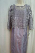 R&M Dress Sz 6 Lilac Purple Lace 3/4 Sleeve Floral Print Formal Evening Dress