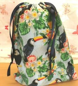 Handmade drawstring bag in a Tropical cotton fabric / unlined