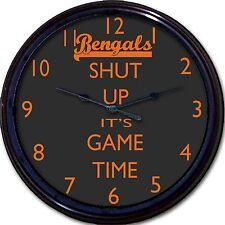 "Cincinnati Bengals Shut Up It's Game Time Football  Wall Clock NFL Man Cave 10"""