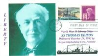 THOMAS A. EDISON Liberty Ship Portrait Cachet Inventor New Jersey First Day PM