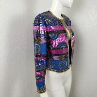 Vintage Papell Boutique Sequined Shrug Silk Jacket Blue Blazer Women's Sz Small